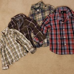 Lot of 4 Toddler Plaid Dress Shirts Size 18-24 months